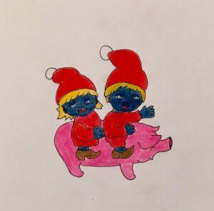 Julegris med Kali-forheksede nissebørn